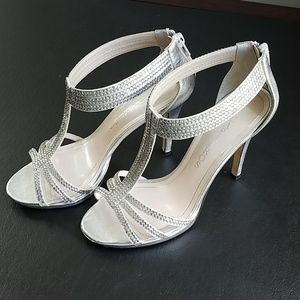 Caparros Silver & Faux Crystal High Heel Sandals